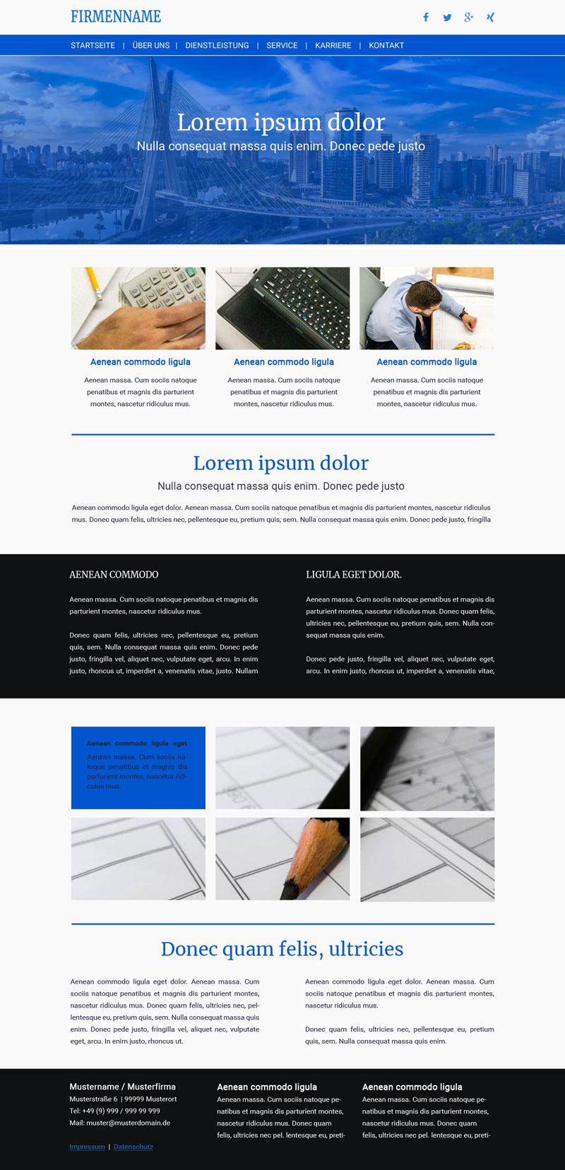 Webseite für Architektur und Bau / Responsive Vorlage #3262
