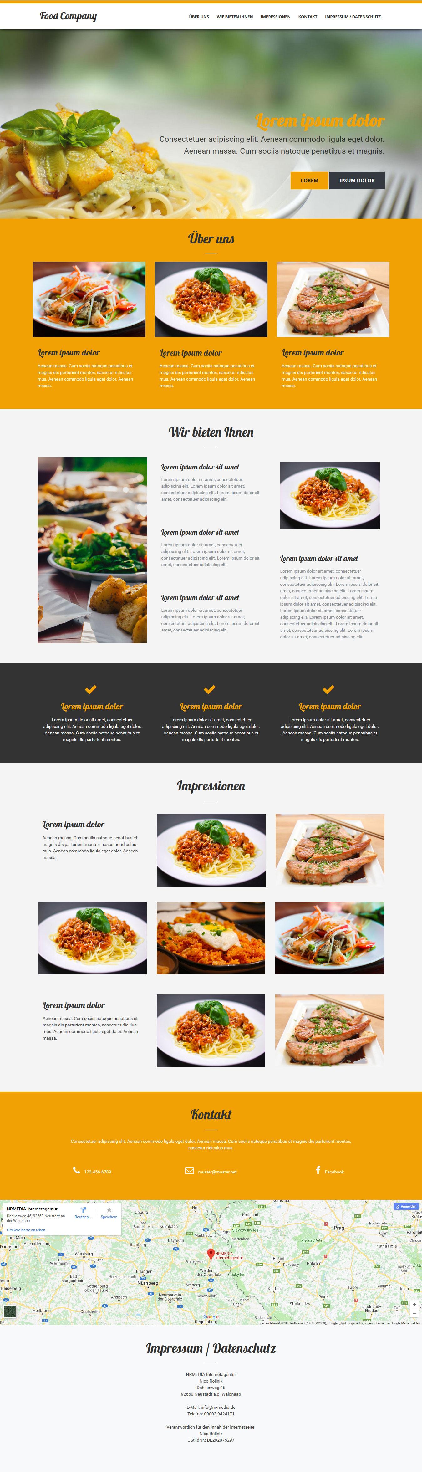 Gastro Onepage Homepage Vorlage