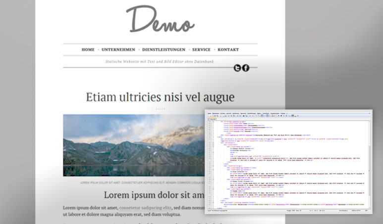 Online HTML Editor - Statische Webseite mit CMS ohne DB
